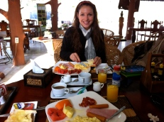 Enjoying breakfast